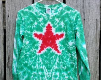 Adult Christmas Star Tie Dye Long Sleeve TShirt, Available Sizes: S M L XL XXL 3XL , Red and Green Tie Dye, Holiday Shirt