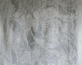 SALE Japanese Chic natural Logwood dyed Katagami Chrysanthemum pattern Wool-Linen scarf
