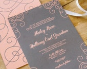 Wedding Invitations Modern Gray and Coral