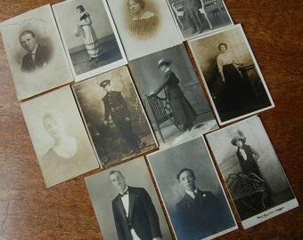 Lot of antique photographs , men , women , soliders
