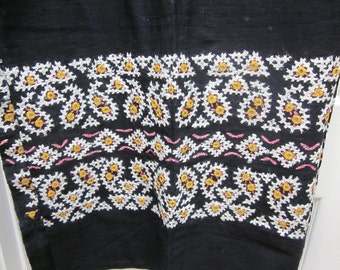 "Mirror Work Embroidery Black Cotton Fabric 94"" x 47"""