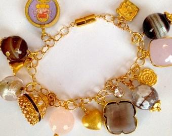 Charm Gemstone Statement Bracelet, Gold Filled Oval Link Chain Large Varied Charms, Smokey Quartz Bezel Clover, Filigree Bell, Rose Quartz