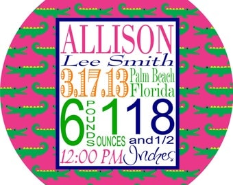 Birth Announcement Plate Personalized Melamine Plate Baby Girl Gift First Birthday Gift