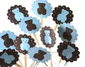 12 Teddy Bear Cupcake Toppers / Teddy bear Baby Shower / Teddy Bear Invitation / Teddy Bear Party / Teddy bear Party Decor /Blue Teddy Bears