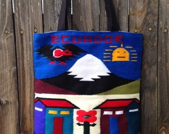 Sale! ECUADOR Tote Bag... Traditional Weaving, Market Tote... Medium Everyday Bag... Book, Laptop, Travel, Destination Gift... Ready to Ship