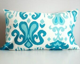 Ikat Pillow Cover- 12x24 Turquoise Decorative Pillow Lumbar
