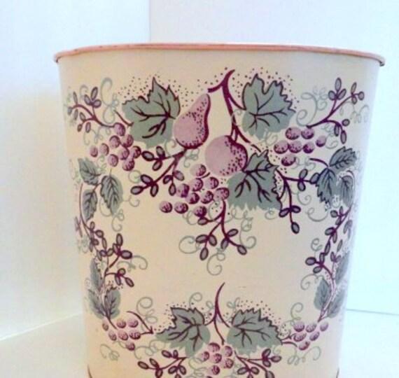 Vintage metal wastebasket pink green grapes fruit by metrocottage - Shabby chic wastebasket ...