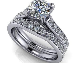 Cushion Cut Engagement Ring Diamond Wedding Band Moissanite Engagement Ring