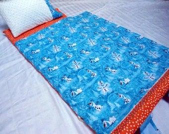 "SALE Toddler Preschool Nap Mat Olaf Frozen Kindergarten Daycare Blanket Pillow Plush White Minky Kindermat Personalization Kids 20"" x 46"""