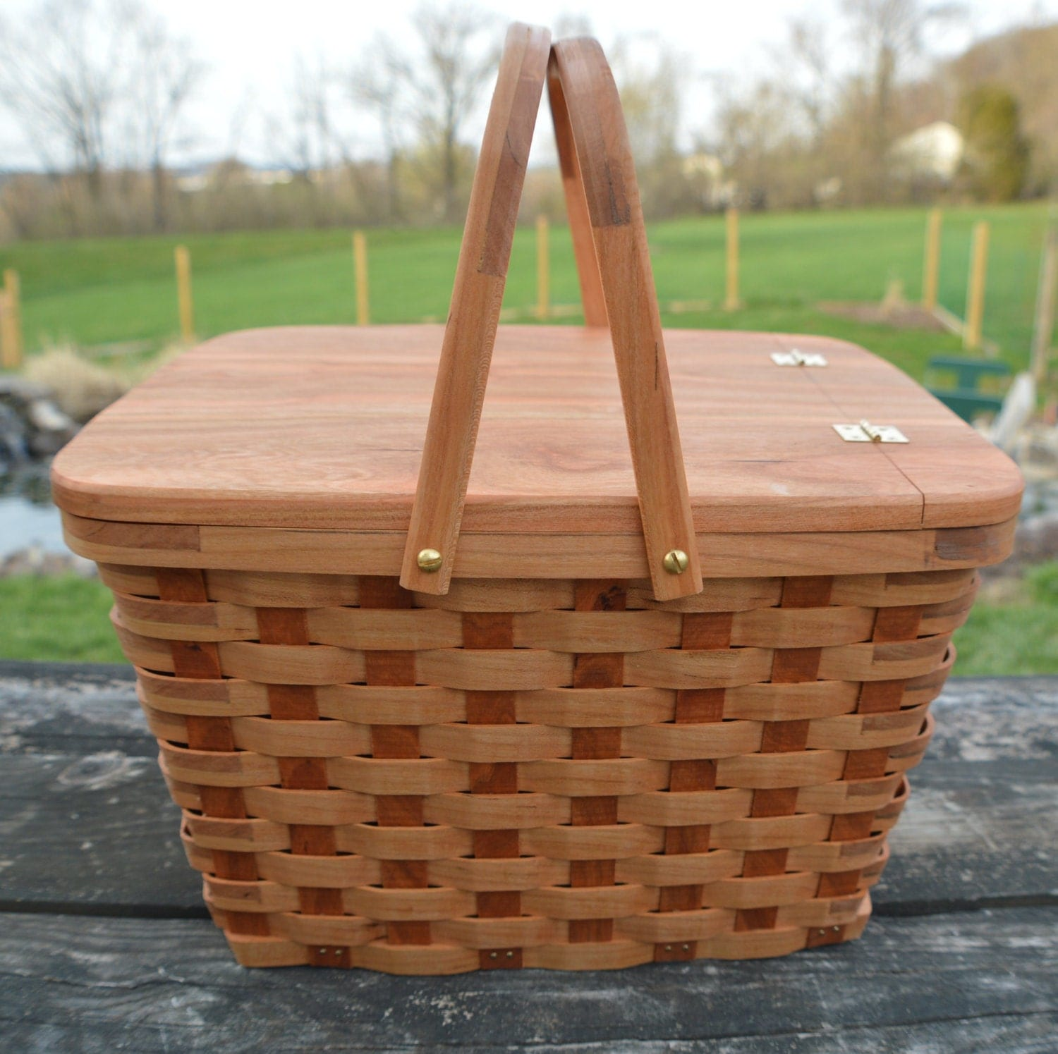 Picnic Basket Pie : Pie carrier tote basket picnic handles by basketsbydebi
