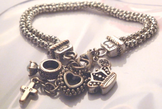 Vintage charm bracelet premier designs charms heart ring cross for Premier jewelry cross ring