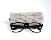 Gray Glasses Case. Grey Reading Glasses Case. Eyeglasses or Sunglasses Holder. Mens Glasses Holder.