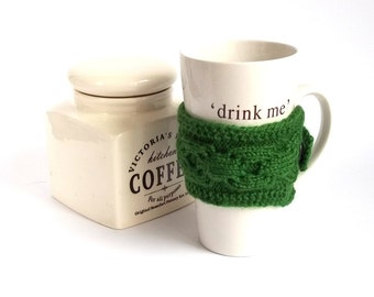 SALE - 50%OFF. Green Knit Coffee Cozy. Knitted Tea Cup Cosy. Knit Green Mug Cozy.