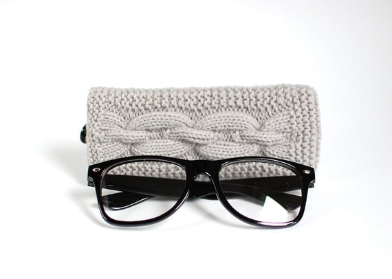 SALE - 30% OFF. Gray Glasses Case. Eyeglasses Case. Eyeglasses Holder. Sunglasses Case. Sunglasses Holder. Spectacles Case. Glasses Holder.