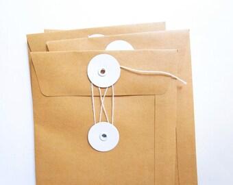 5 Brown Kraft String & Tie Envelope / Button Closure Envelopes