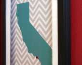 Custom Chevron State Printable Wall Art - Any Colors / Any US state and location / Any size