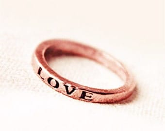 Rustic copper hand stamped LOVE ring, rustic copper ring, size 5-6