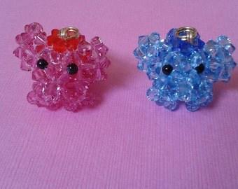 Rose and Aquamarine Elephant - Sarovski Crystal Bead Phone Charm