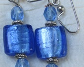 Cobalt Blue foil square lampwork and Czech Earrings