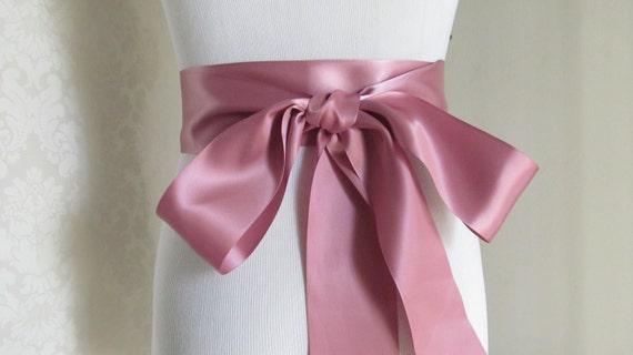Mauve Satin Ribbon Sash / Ribbon Sash / Satin Bridal Sash /  Bridesmaid Sash / Mauve