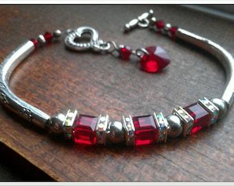 Valentines Day Swarovski crystal Heart Bracelet