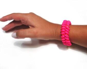Braided rope bracelet in neon fuchsia and orange