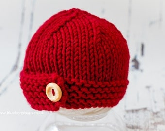 Knitting Pattern/DIY Instructions - Chunky Button Beanie Hat - Baby to Adult Sizes