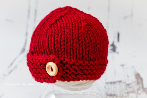 Knitting Pattern Hat With Button : Knitting Pattern/DIY Instructions Chunky Button Beanie Hat