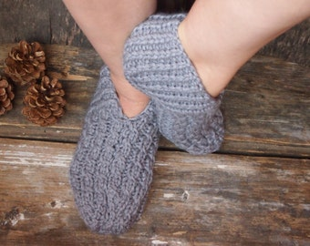 Knitted Wool Slippers, Women Wool Slippers, Warm Gift, Made To Order