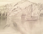 Boat on the Lake Original 8 X 10 Pencil Drawing - Last 2 weeks at this SALE price