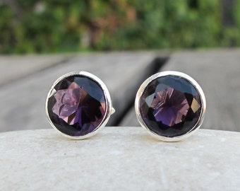 Round Amethyst Stud- Purple Amethyst Stud Earring- February Birthstone Earring- Sterling Silver Earring- Purple Faceted Earring