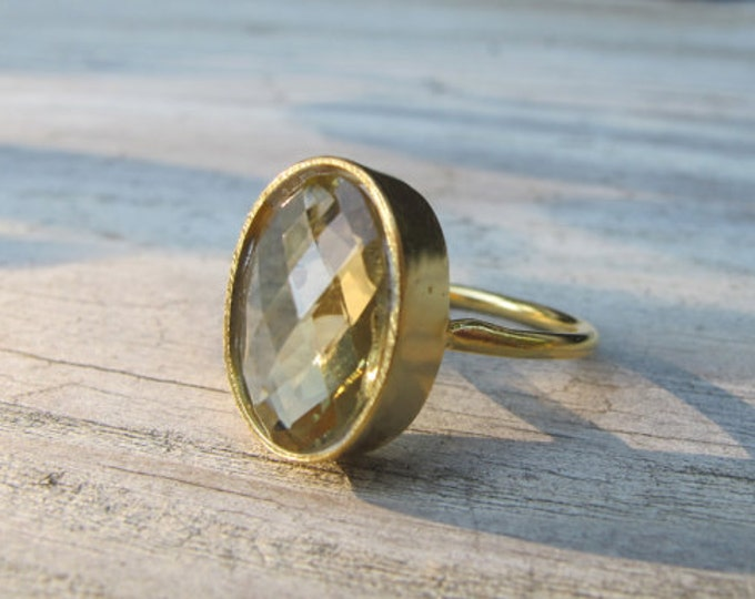 Oval Green Amethyst Ring- Faceted Amethyst Statement Ring- Solitaire February Birthstone Ring- Simple Green Gemstone Ring- Gold Plated Ring