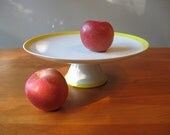 Vintage Cake Plate Cake Stand Sunny Yellow Modern Made in Japan
