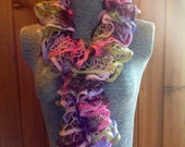 Hand Knitted, Ruffle Scarf, Frilly, Romantic, Lacy, Scarf on Sale!