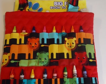Whimsical Lion Print Crayon bag,coloring tote,activity bag,  complete with Crayola Crayons and Quality Coloring Book