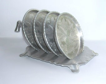 Vintage Set of 4 Everlast Forged Aluminum Coasters with Serving Rack Stand Caddy