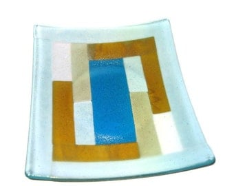 Fused glass platter - geometric with iridescent finish