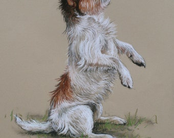 Jack Russell Terrier cute dog LE fine art print 'I can sit...' from an original soft pastel and charcoal sketch