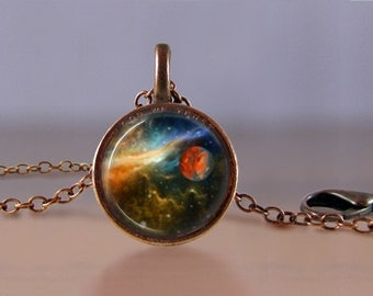Jewelry - Lucky Penny Necklace Art - Space Nebula 2 - Celestial - Choose Chain Length - 1 Cent Jewelry - Charm - Pendant - Penny Jewelry