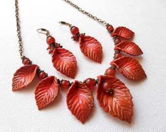 Fall Orange Fall Leaves Agate Jewelry Leaf Necklace Leaf Earrings Autumn Jewelry Statement Necklace Fall Earrings Handmade jewelry