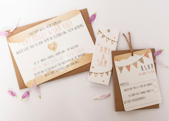 Rustic bunting wedding invitation - peach
