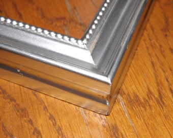 11 x 14 Made to Order Picture Frame ~ Beaded inner lip ~ Hand Painted Metallic Sterling Silver Accent Finish ~ 3/4 inch wide Moulding