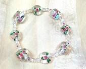 Pink & Green Flower Bracelet Crystals and Lampwork Glass