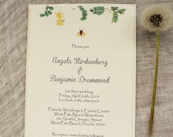 Bee Wedding Invitation Botanical Handmade Printable or Ship
