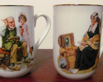 Vintage Two Norman Rockwell Mugs