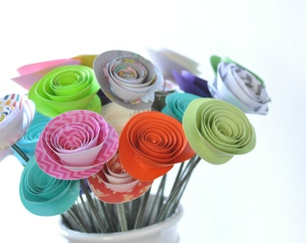 30 Colorful Paper Flowers on Stems- Bouquet of Paper Flowers- Misfit Flowers