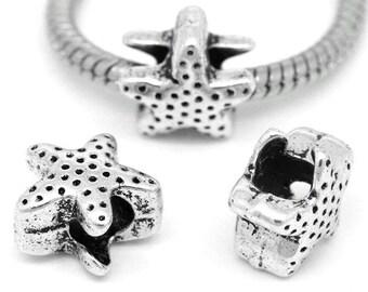 10 Pieces Antique Silver Starfish European charm
