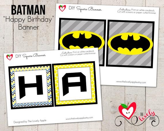 Batman Birthday Printable Banner Happy Birthday by ...