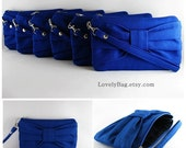 Set of 7 Bridal Clutches, Bridesmaids Clutches / Royal Blue Bow Clutches - Personalized Monogram Zipper Pull - MADE TO ORDER