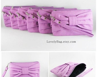 Set of 7 Bridal Clutches, Bridesmaids Clutches / Lavender Purple Bow Clutches - Personalized Monogram Zipper Pull - MADE TO ORDER